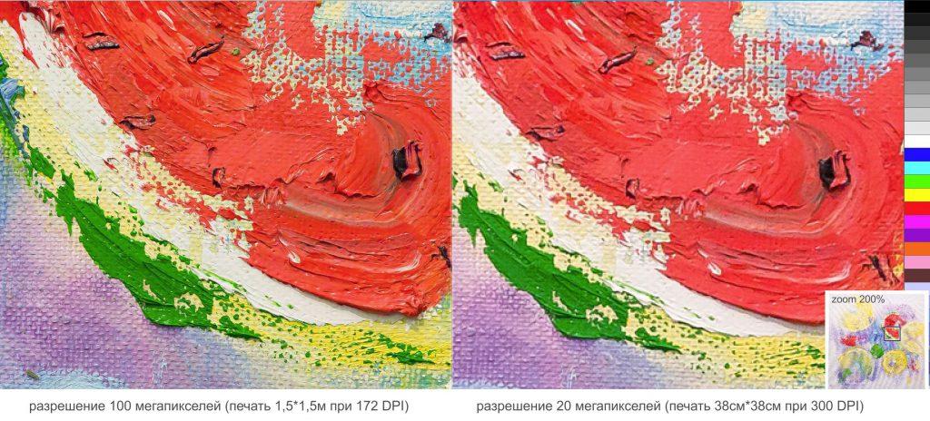 сравнение качества детализации фото картины 100 мегапикселей